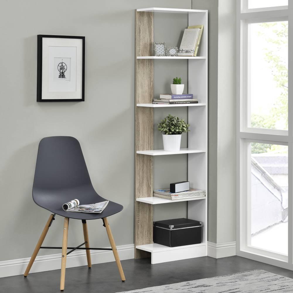 [pro.tec]® Knižnica - imitácia dreva / biela - 170,5 x 45 x 21 cm