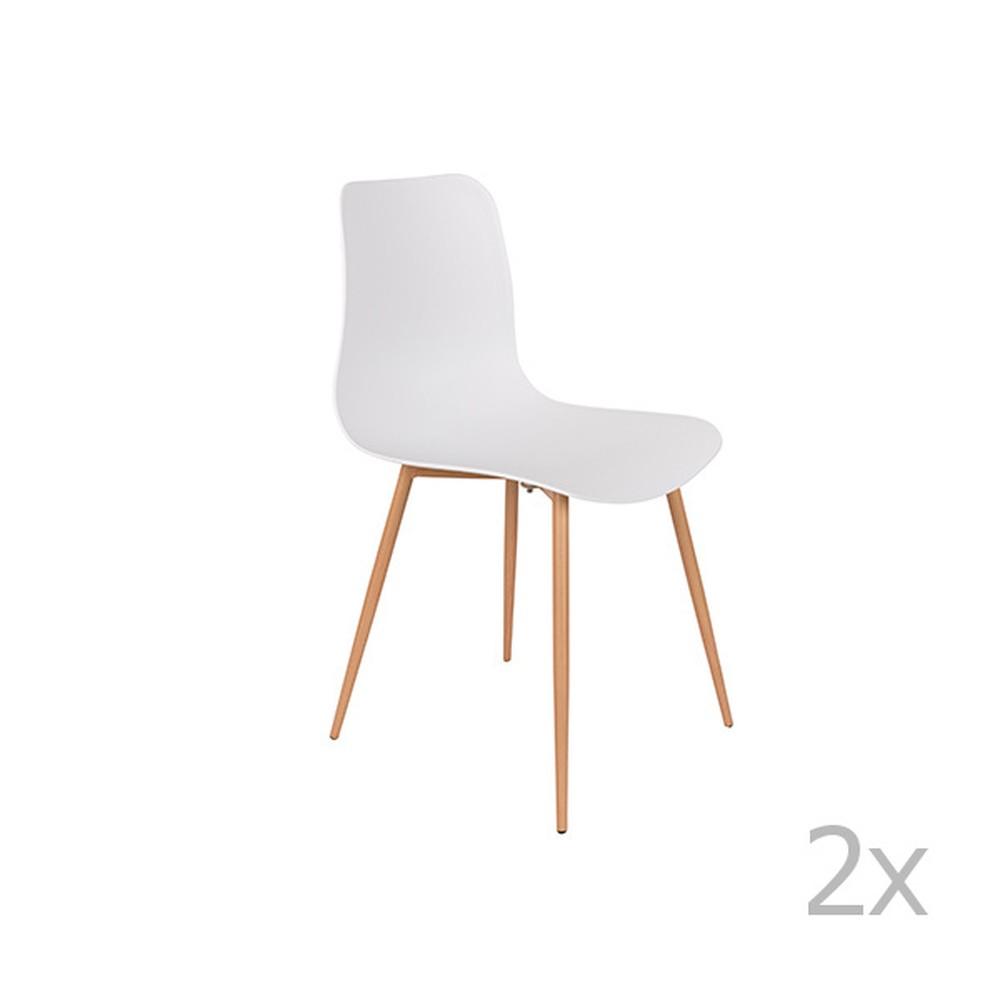 Sada 2 bielych stoličiek White Label Leon