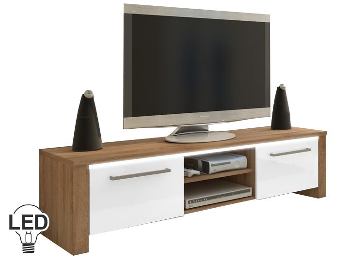 TV stolík/skrinka Helix (sonoma svetlá + lesk biely)