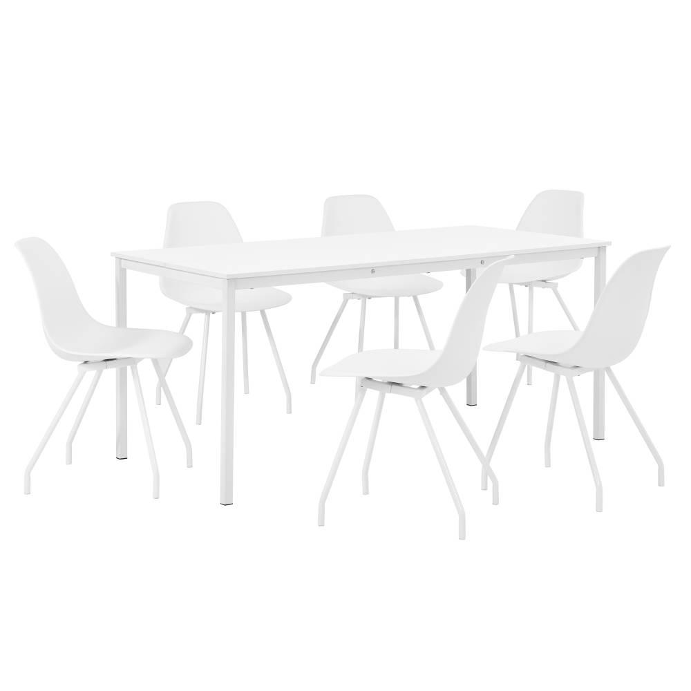 [en.casa]® Štýlová dizajnová jedálenská zostava - biely stôl - so 6 elegantnými stoličkami - bielymi