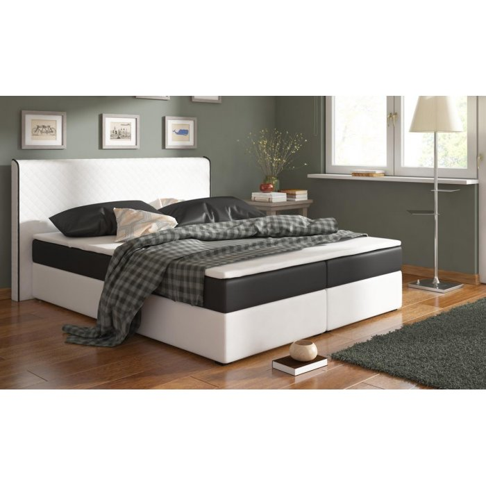 RENAR BERGAMO MEGACOMFORT 180 posteľ - biela ekokoža / čierna látka