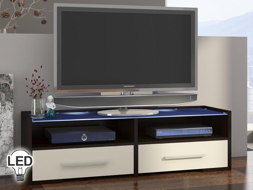 TV stolík/skrinka Semprio (wenge + krém)