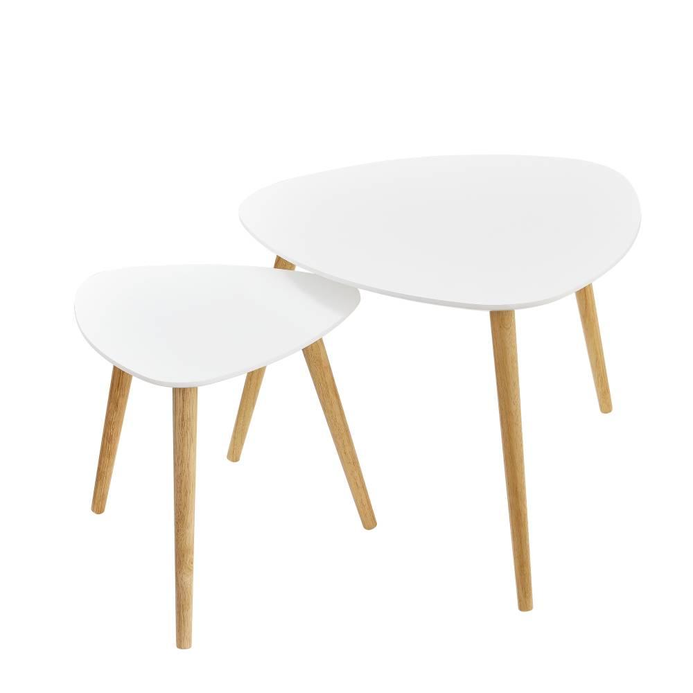 [en.casa]® Sada stolíkov - konferenčných stolíkov - 2 kusy biele