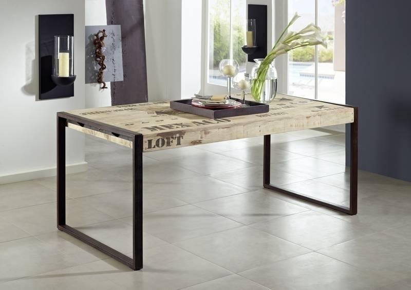 FACTORY jedálenský stôl #113, 180x90 liatina a mangové drevo, potlač