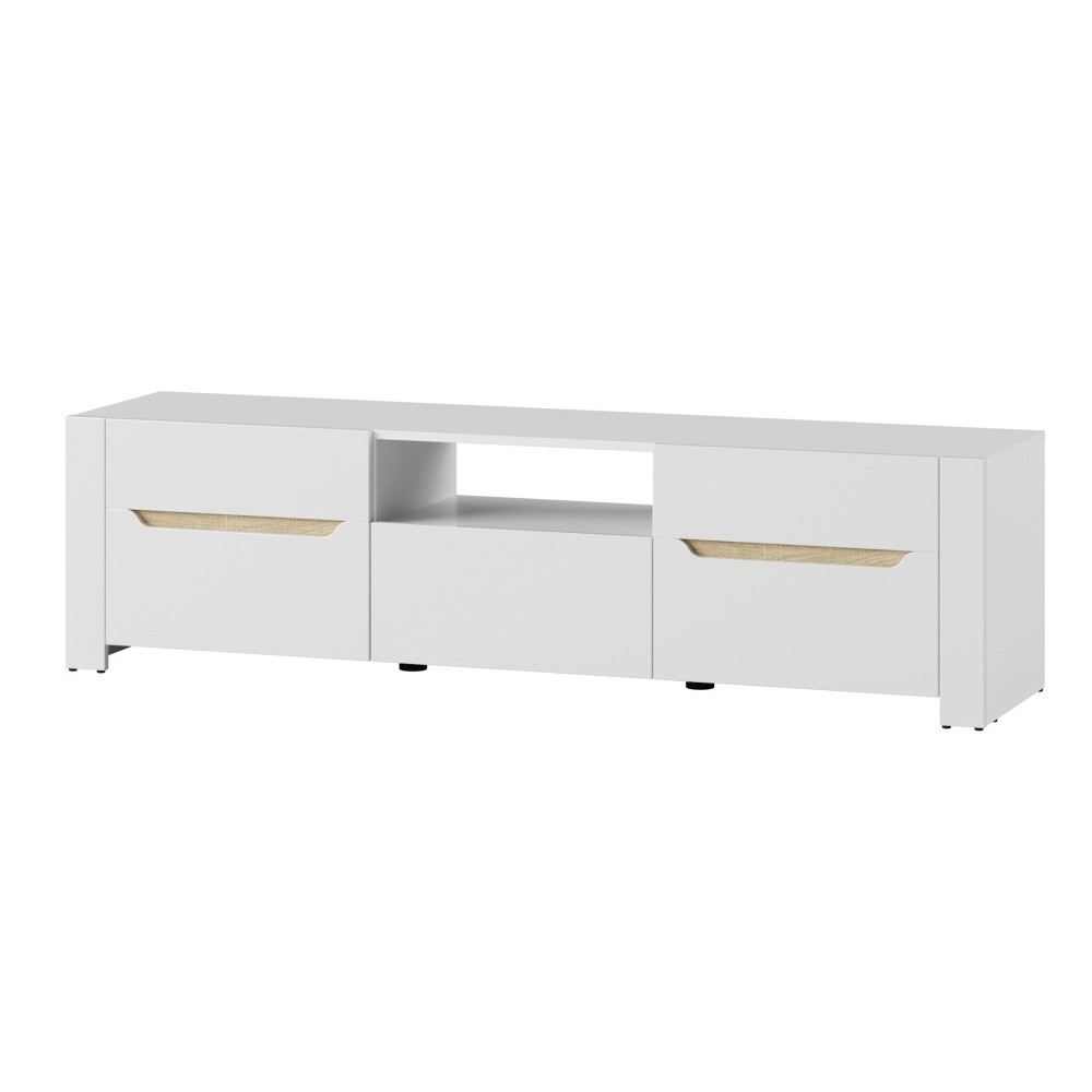 Biely dvojdverový TV stolík so zásuvkou Szynaka Meble Ice
