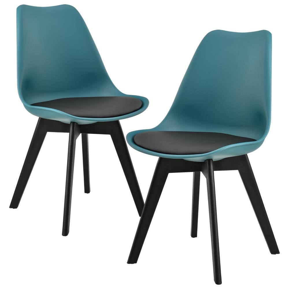 [en.casa]® Dizajnová stolička - 83 x 48 cm - čierna/tyrkysová