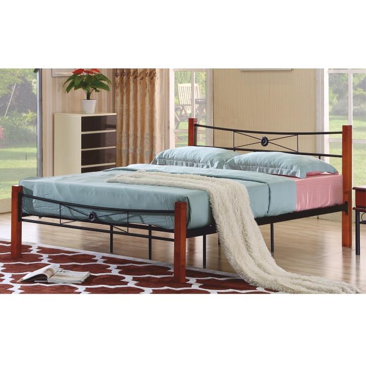 Manželská kovová posteľ, s roštom, kov+drevo-čerešňa, 160x200, AMARILO