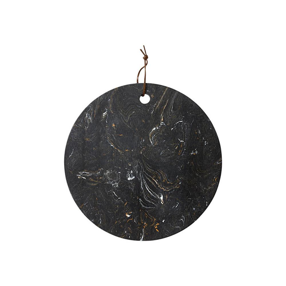 Čierna doska na servírovanie z kameňa Ladelle, ⌀ 30 cm