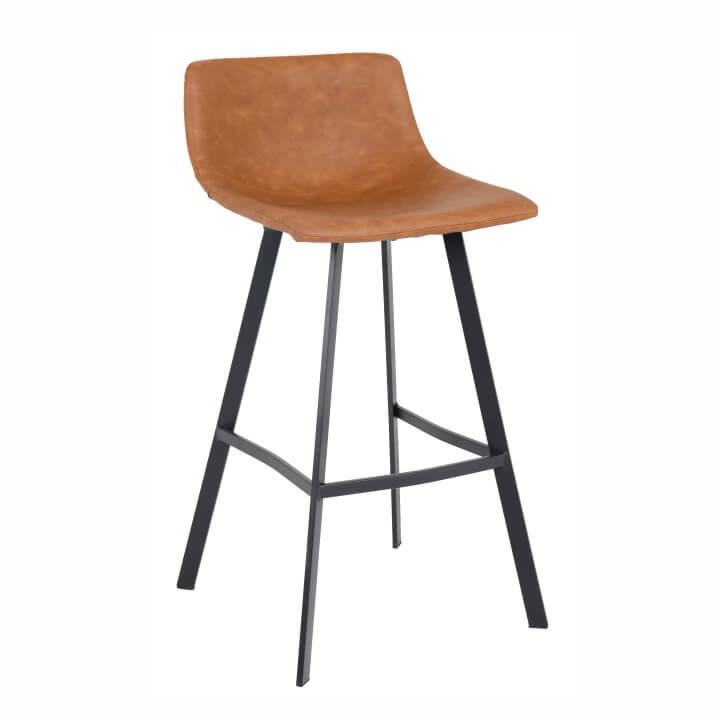 TEMPO KONDELA Barová stolička, svetlohnedá/čierny kov, FALUN