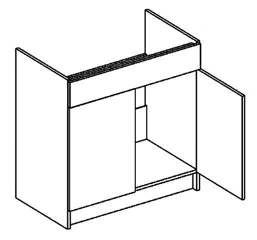 D80ZL dolná skrinka pod drez AURA, mocca/šedá