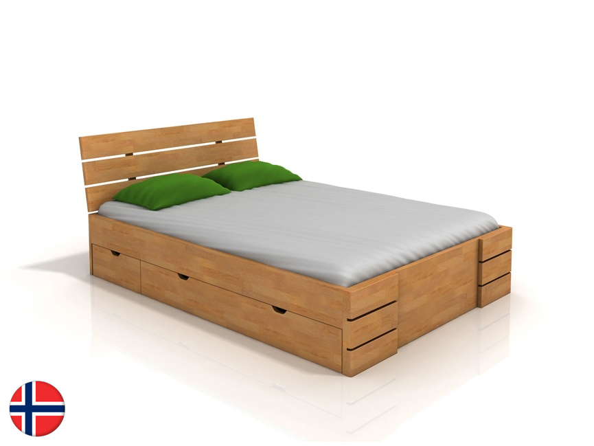 Manželská posteľ 200 cm Naturlig Lorenskog High Drawers (buk) (s roštom)