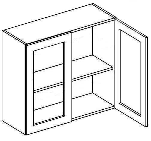 W80W CZ horná vitrína 2-dverová - číre sklo, vhodná ku kuchyni NORA