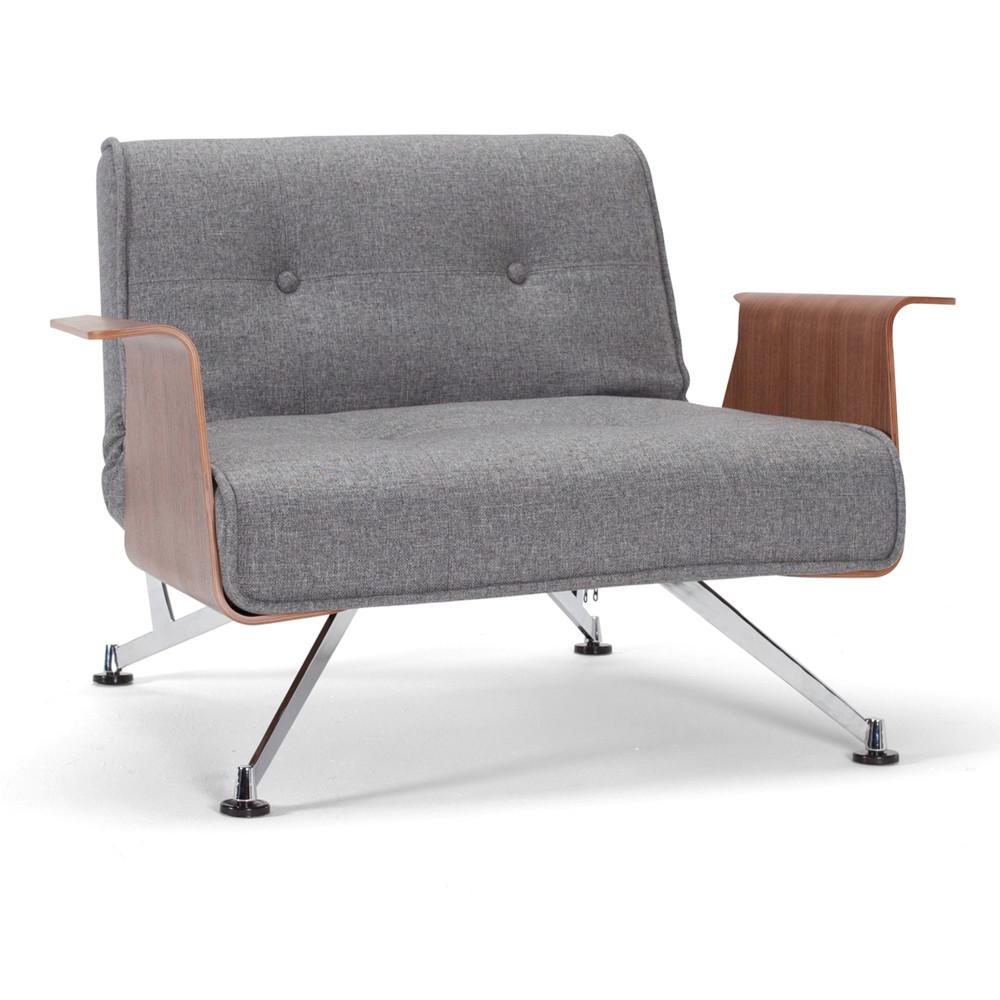 Rozkladacie kreslo s rúčkami Clubber Chair, sivé