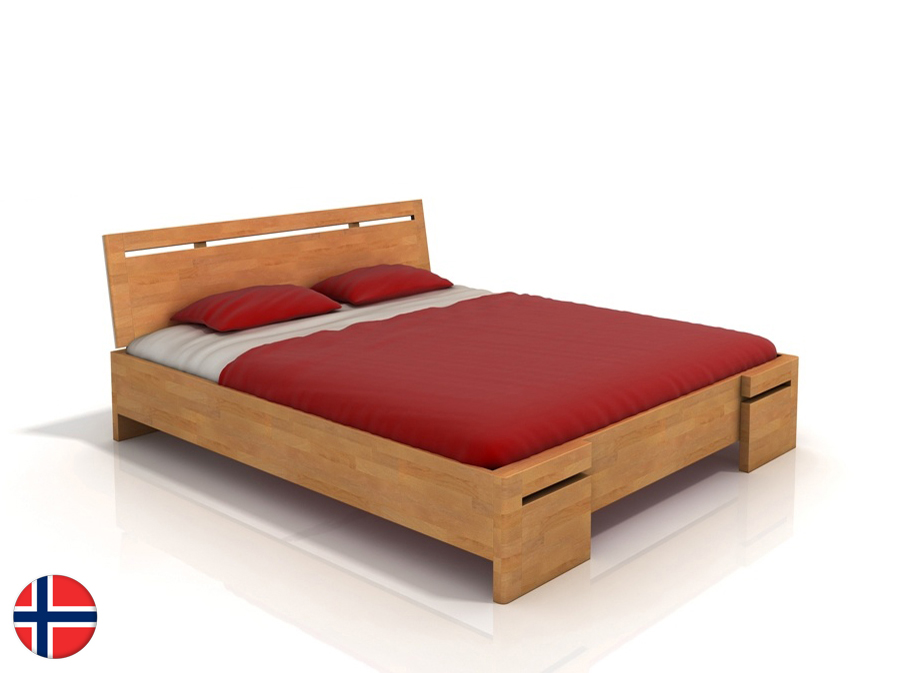 Manželská posteľ 160 cm Naturlig Bokeskogen High (buk) (s roštom)