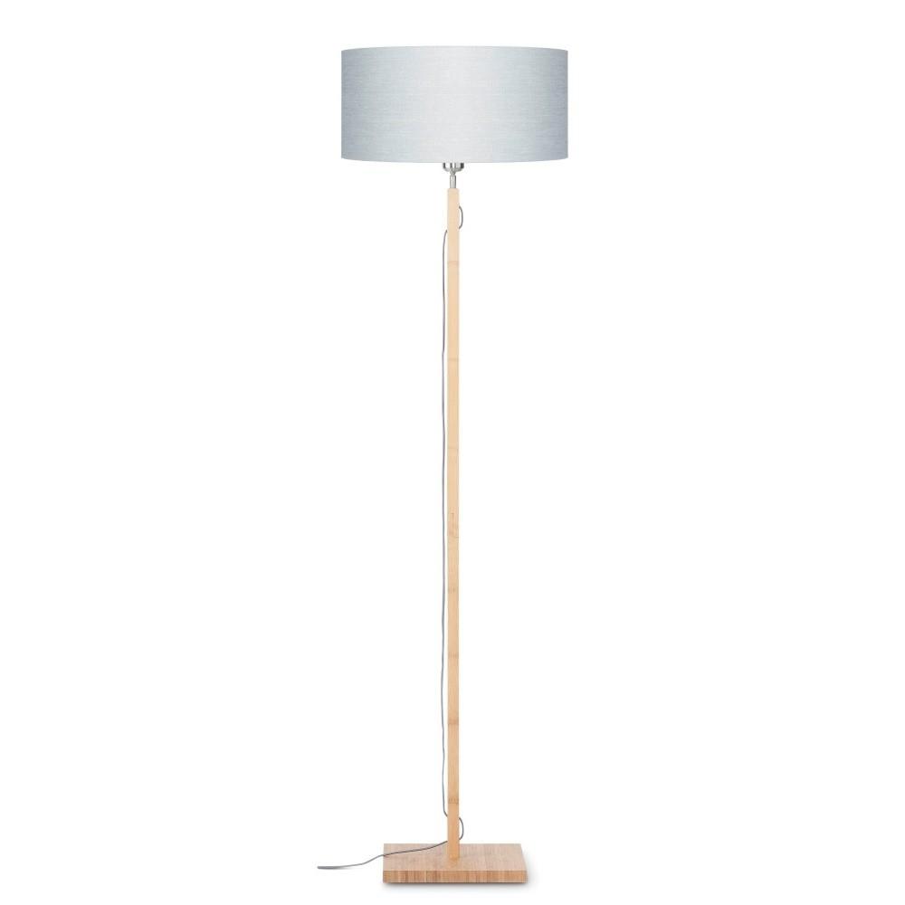 Stojacia lampa so svetlosivým tienidlom a konštrukciou z bambusu Good&Mojo Fuji