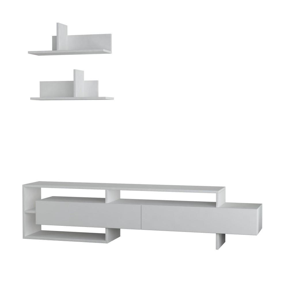 Set bieleho TV stolíka a 2 nástenných poličiek Homitis Gara