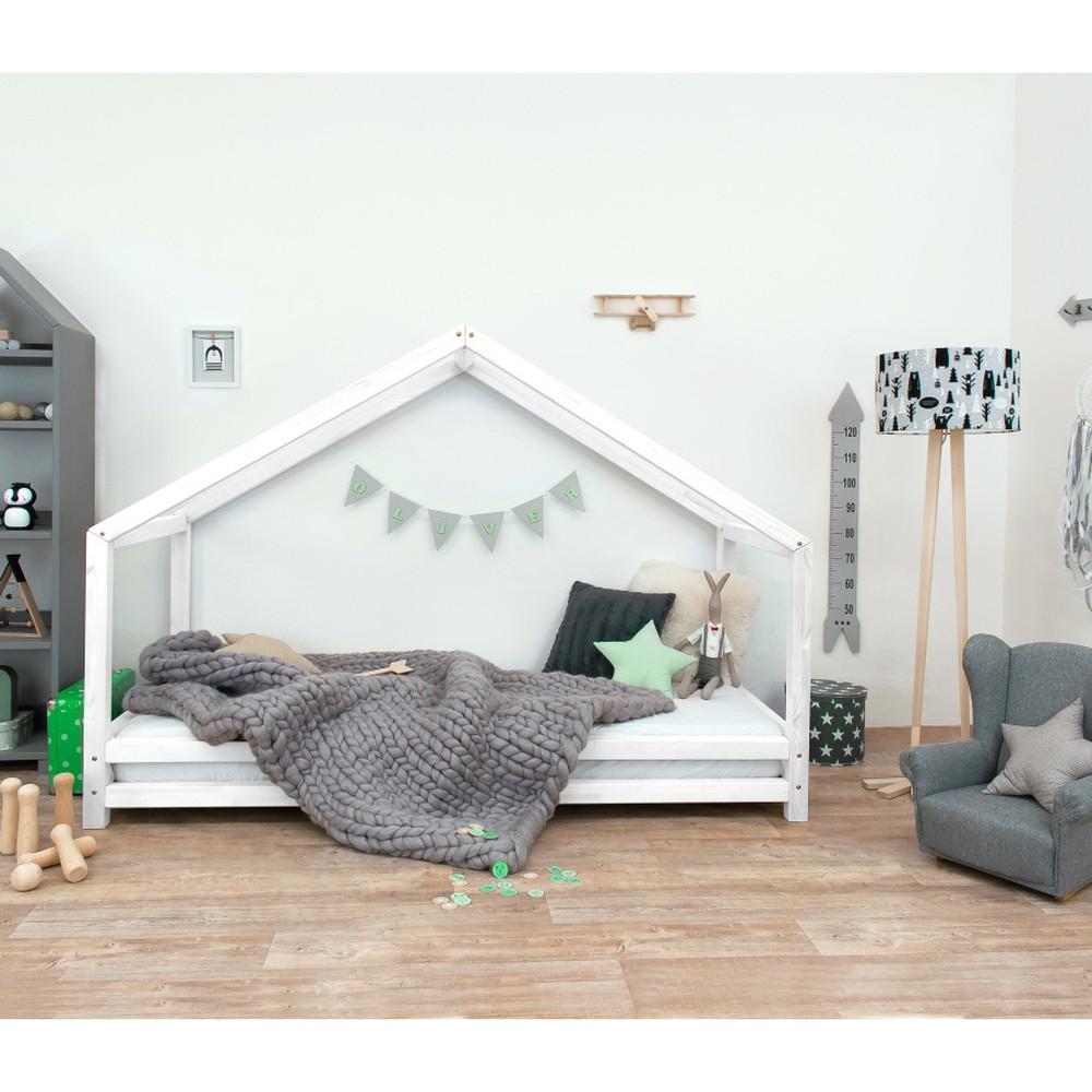 Biela detská posteľ z lakovaného smrekového dreva Benlemi Sidy, 90 × 160 cm