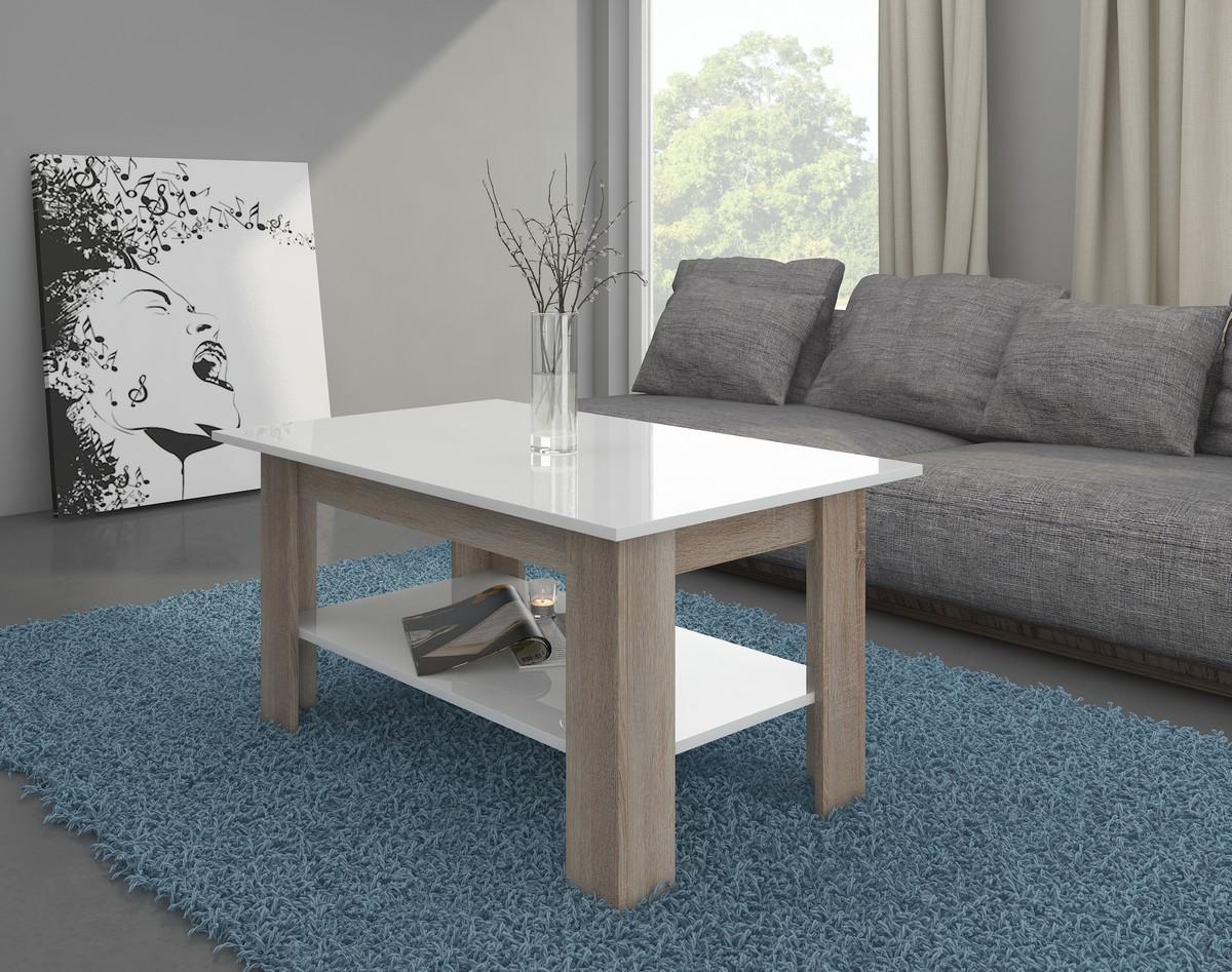 Konferenčný stolík Elaiza (sonoma svetlá + lesk biely)