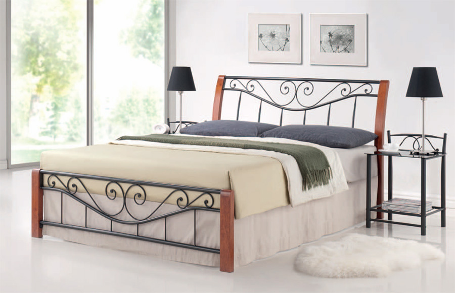 DARMA posteľ 180x200 cm, antická čerešňa/čierna