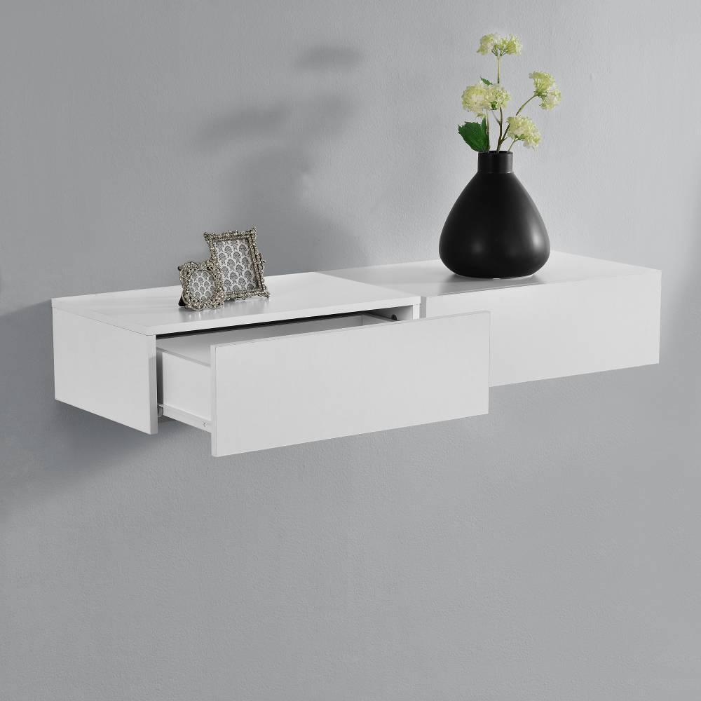 [en.casa]® Nočný stolík na stenu - dvojkombinácia - biela matná
