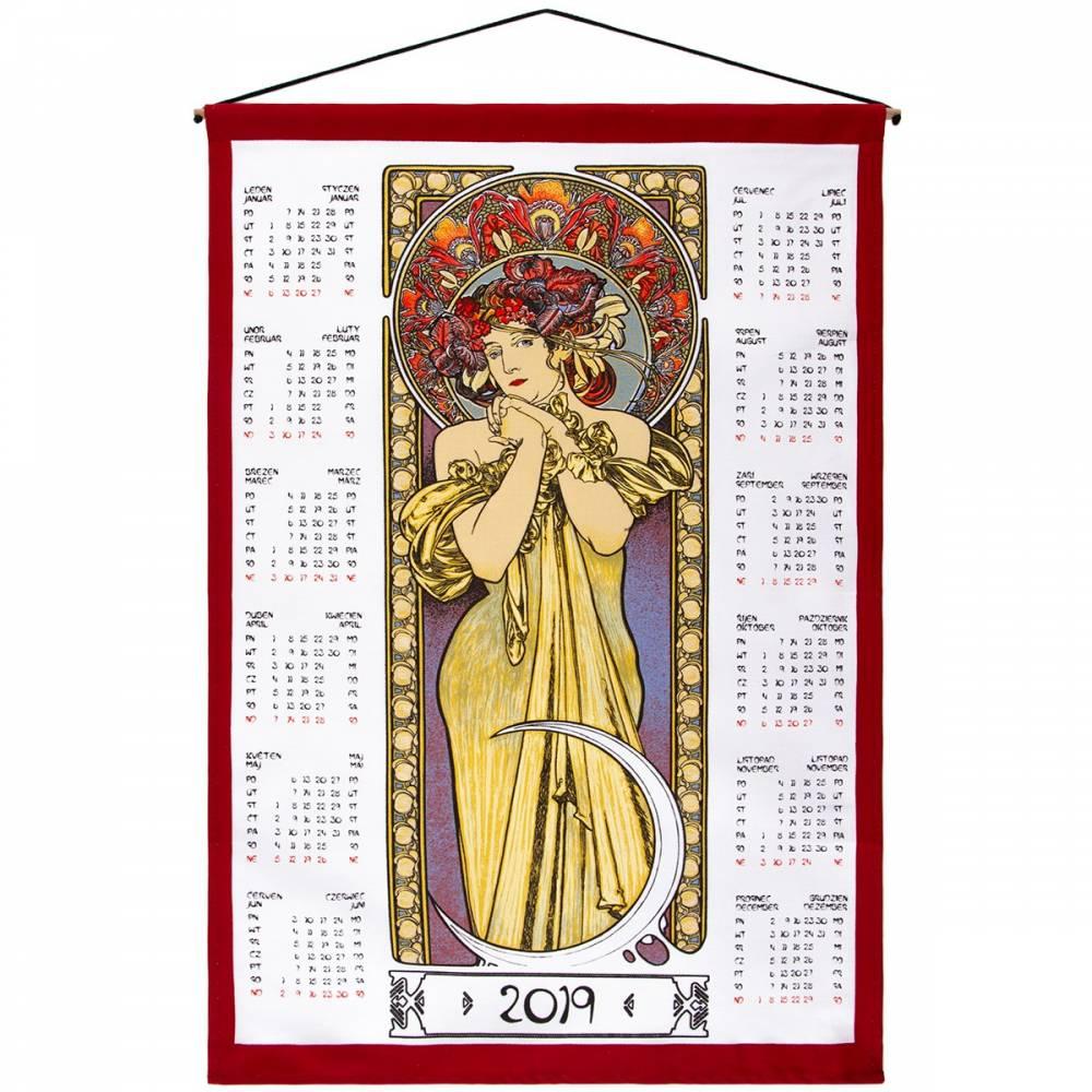 Forbyt Textilný kalendár Alfons Mucha 2019, 45 x 65 cm