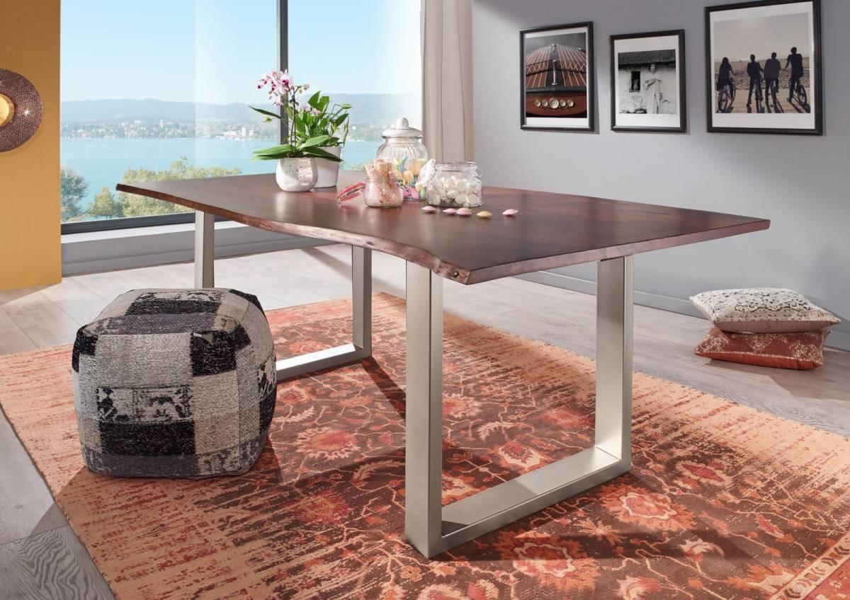 Bighome - METALL Jedálenský stôl so striebornými nohami 160x90, akácia, hnedá