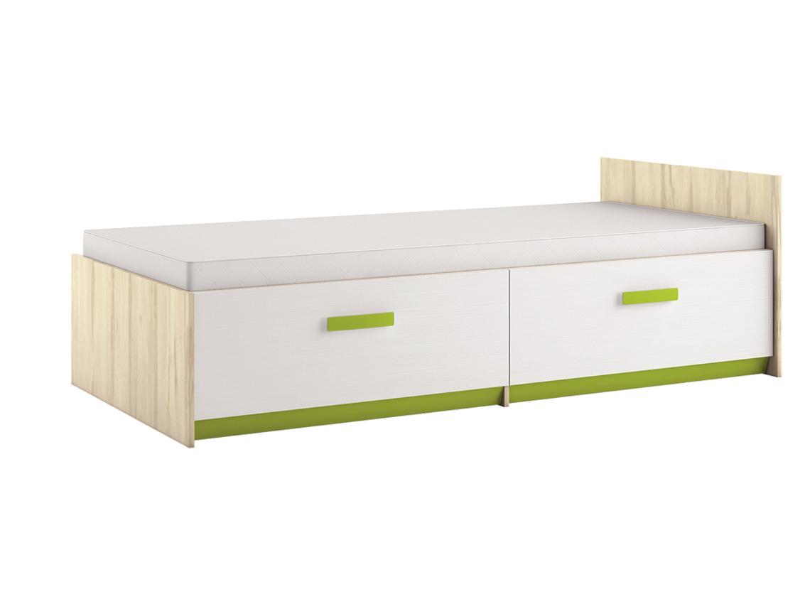 Jednolôžková posteľ 90 cm Best 17 Breza + Biela (s roštom a úl. priestorom)
