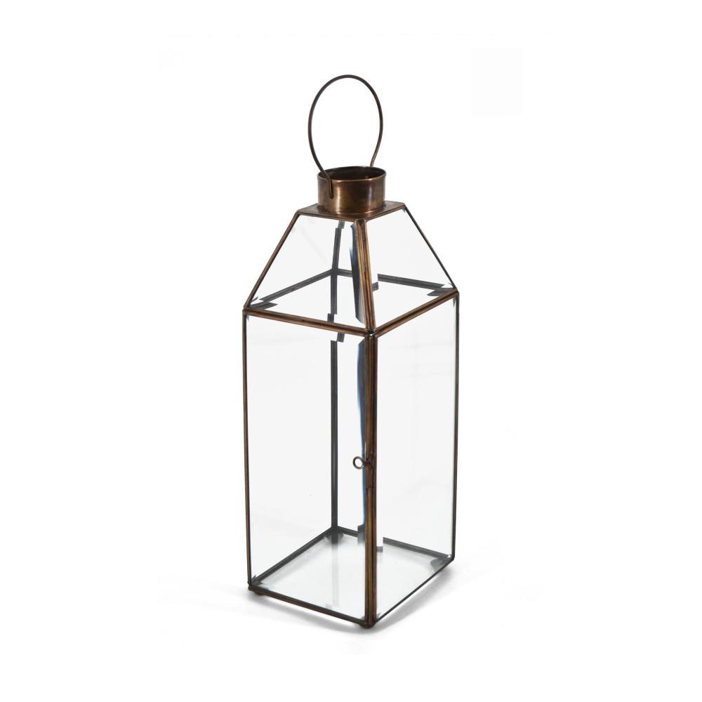 Sklenený lampáš s kovovým rámom Moycor Long