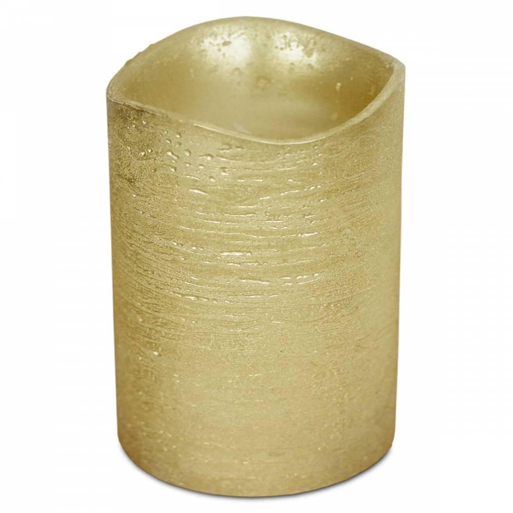 LED sviečka potiahnutá voskom 7,6 x 10 cm, zlatá