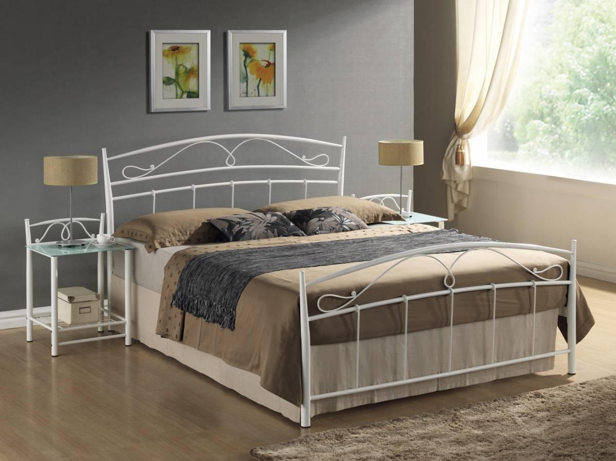 Manželská posteľ 160 cm Siena biela (s roštom)