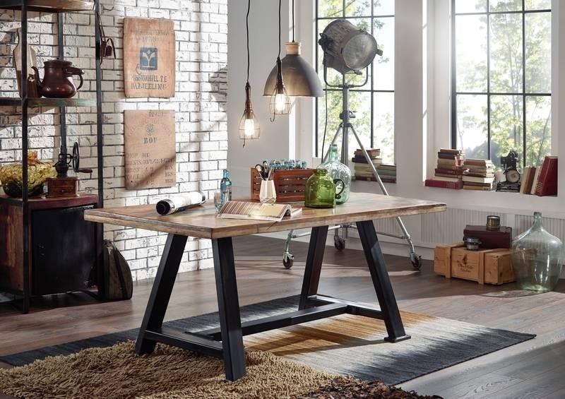INDUSTRIAL #60, Jedálenský stôl 180x90 cm, liatina, staré drevo