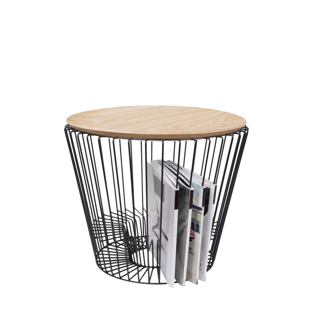 Odkladací stolík z kovu v dekore svetlého dreva HARTÔ, Ø50 cm