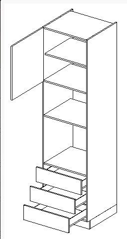 JUSTINA skrinka na vstav. rúru a mikrovlnku D60PKMVS3-210