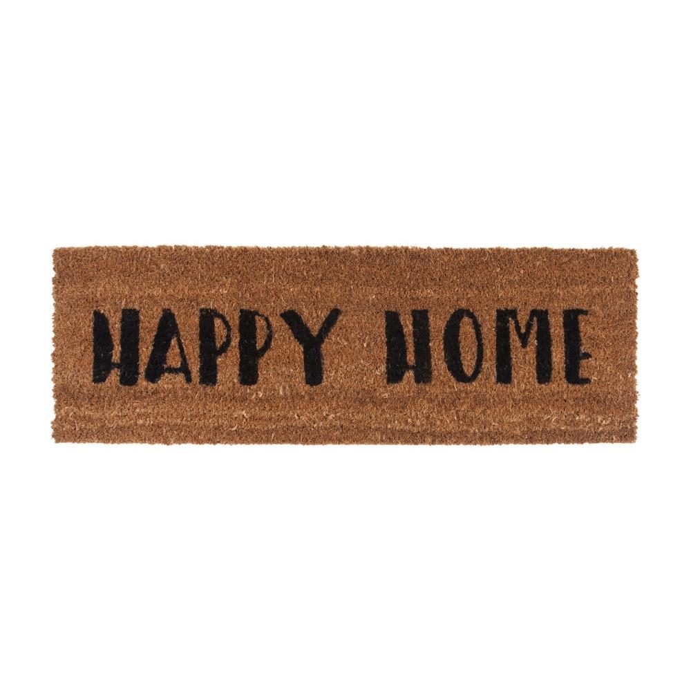 Rohožka s čiernym nápisom PT LIVING Happy Home, 26 x 75 cm