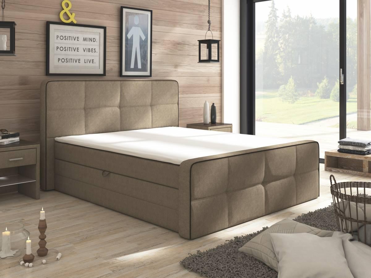 Manželská posteľ Boxspring 160 cm Paradise (s matracmi a úl. priestorom)