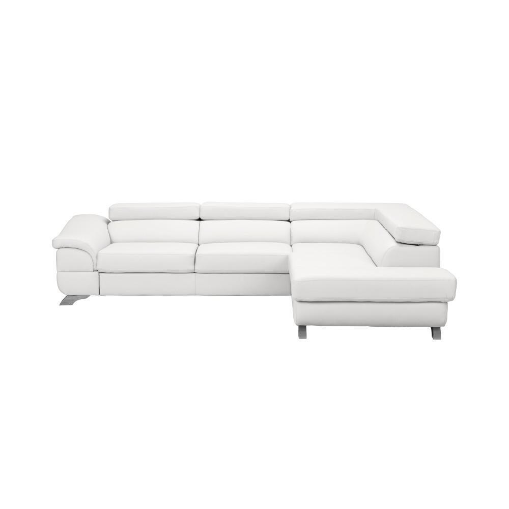 Biela kožená rozkladacia rohová pohovka Windsor & Co Sofas Gamma, pravý roh