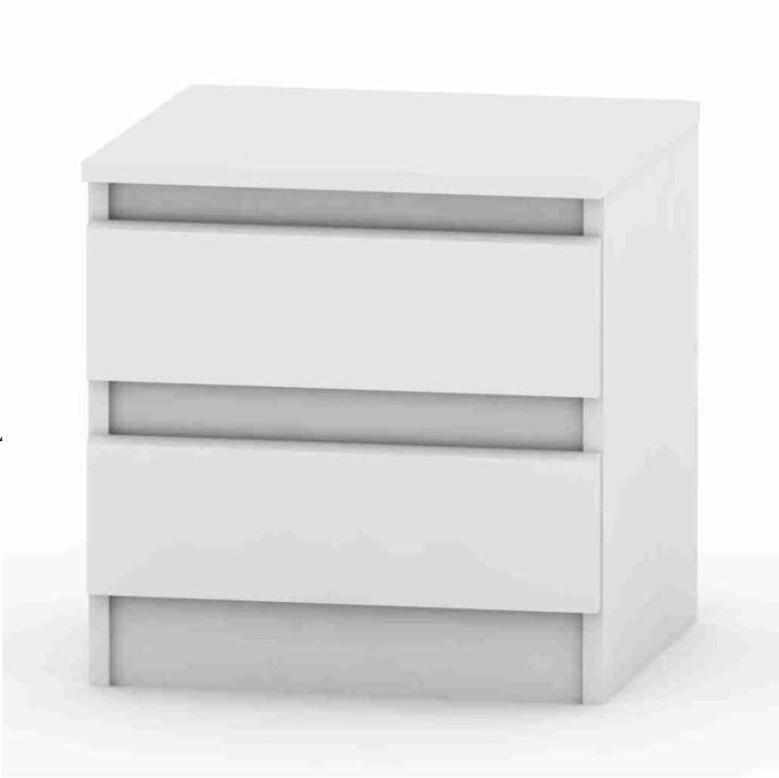 TEMPO KONDELA 2 šuplíkový nočný stolík, biela, HANY 002
