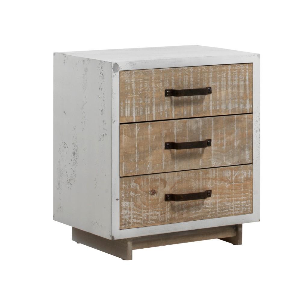 Biely nočný stolík s 2 zásuvkami Geese Rustic