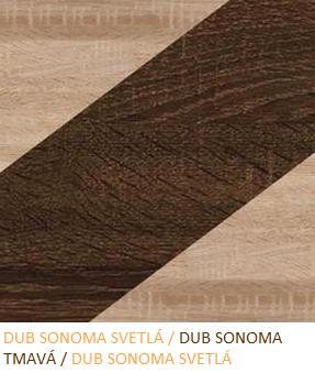 Skriňa NOTTI 01   Farba: Dub sonoma svetlá / dub sonoma tmavá / dub sonoma svetlá