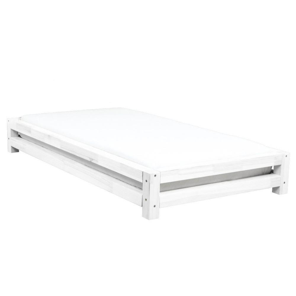 Biela jednolôžková posteľ zo smrekového dreva Benlemi JAPA, 200 × 90 cm