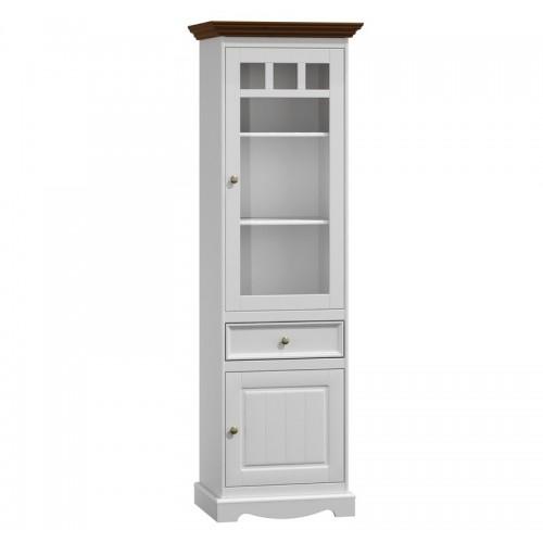 Biely nábytok Belluno Elegante, úzka drevená vitrína z masívu, dekor biela / orech
