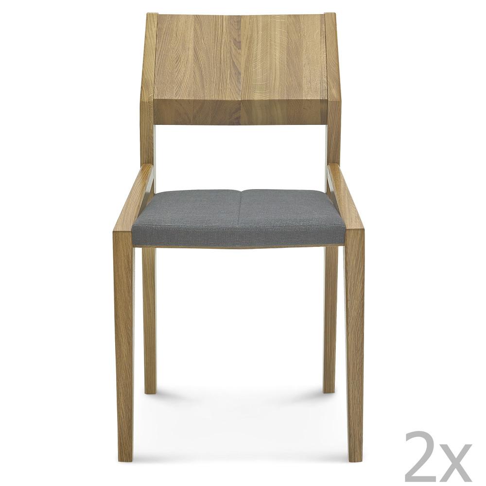 Sada 2 drevených stoličiek so sivým čalúnením Fameg Ingunn