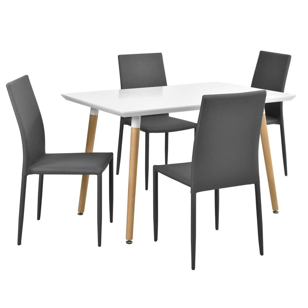 [en.casa]® Dizajnový jedálenský stôl - 120 x 70 cm - so 4 sivými stoličkami