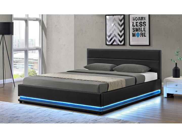 Manželská posteľ 180 cm Birget (s roštom, osvetlením a úl. priestorom)