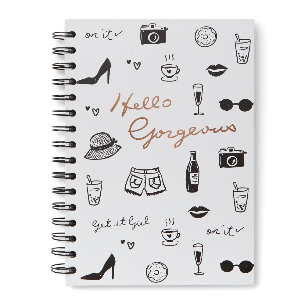 Krúžkový biely zápisník Tri-Coastal Hello Gorgeous, 120 stránok