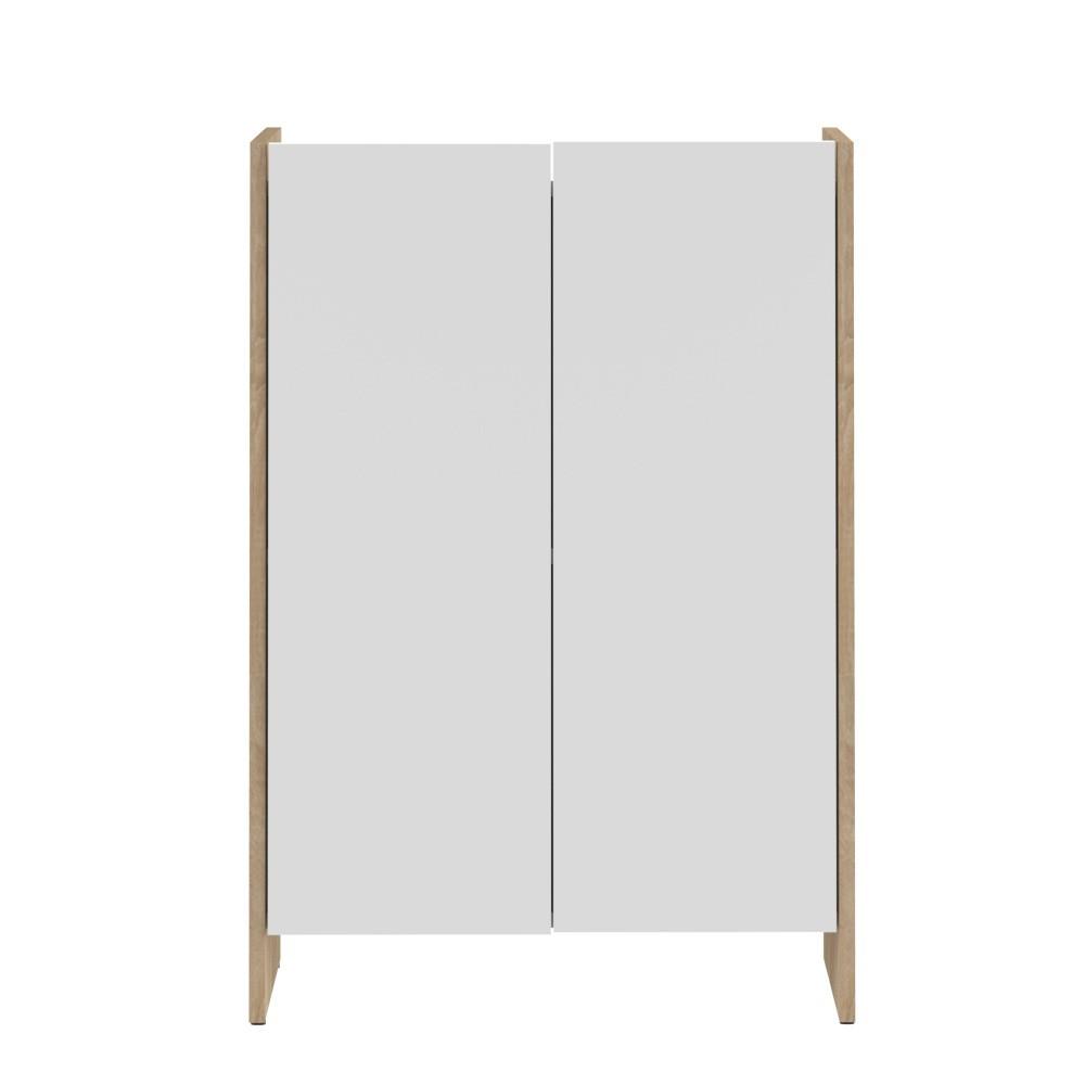 Biela kúpeľňová skrinka s hnedým korpusom Symbiosis Auben, výška 89,5cm