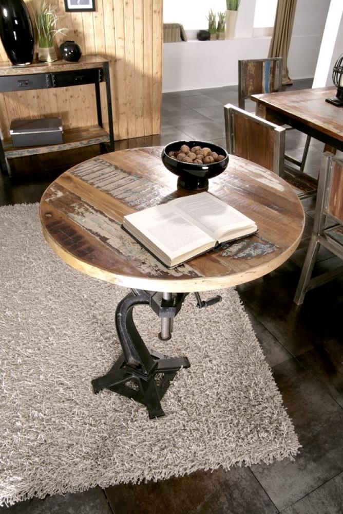 Masiv24 - INDUSTRY okrúhly stôl #22, liatina a staré drevo