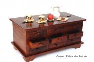 Furniture nábytok  Truhlica s 9 zásuvkami z Palisander  Kálí  90x50x44 cm