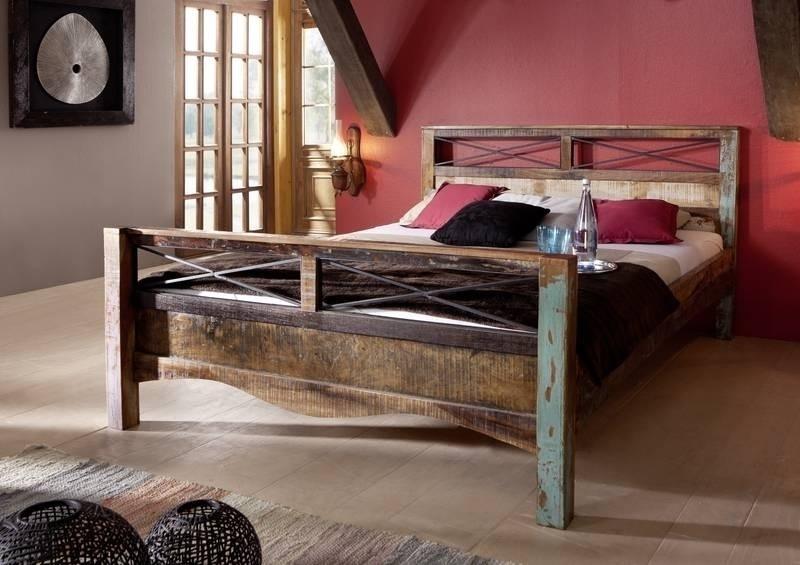 SPIRIT posteľ #45 - 140x200cm lakované staré indické drevo