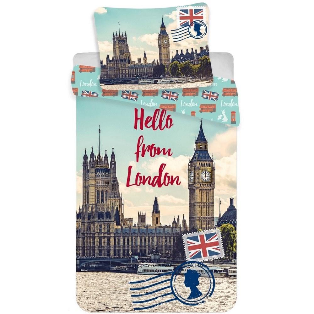 Jerry Fabrics Bavlnené obliečky Londýn Hello, 140 x 200 cm, 70 x 90 cm